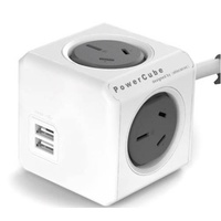 Allocacoc POWERCUBE GREY 4xGPO 2xUSB 1.5MTR