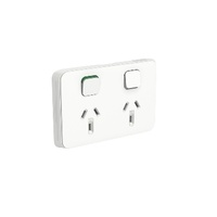 Clipsal Iconic Socket Sw Horiz Twin 10A 250V