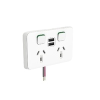 Clipsal Iconic Socket Sw Hor Twin 2.8A USB 10A 250V