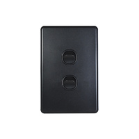 FLAT CAT Switch Vertical 2 Gang Slim 10AX/16A 250V Matt Black